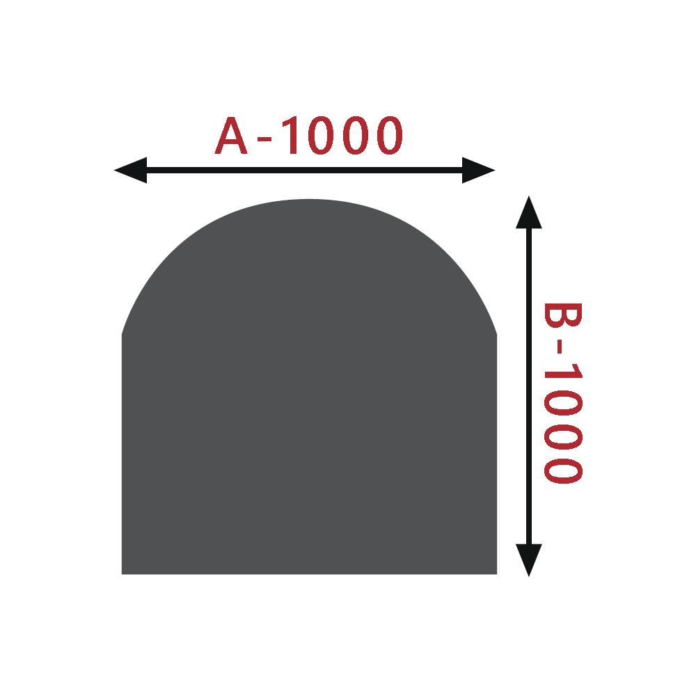 Sklo pod kamna - Oblouk 1000x1000 mm / 8 mm