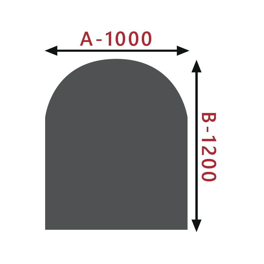 Sklo pod kamna - Oblouk 1000x1200 mm / 8 mm
