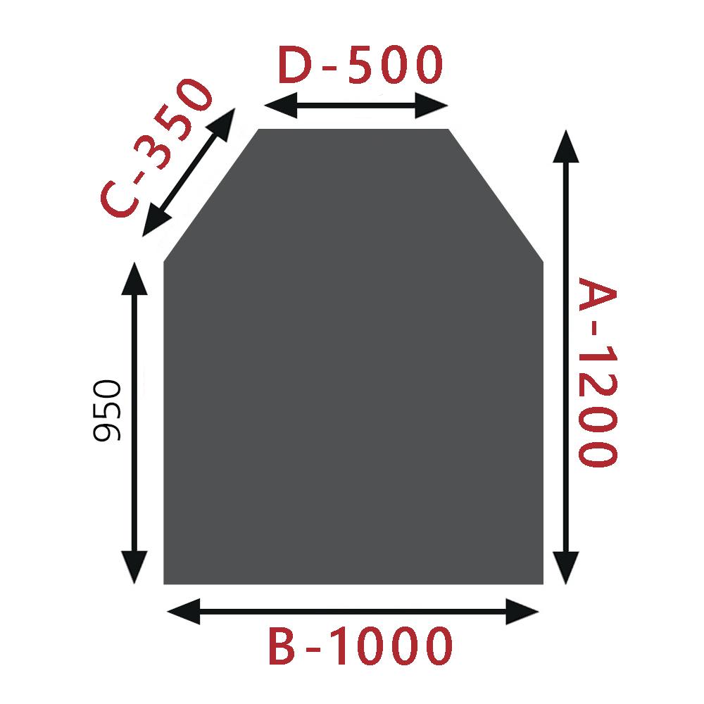 Sklo pod kamna - Šestihran 1000x1200mm / 8mm