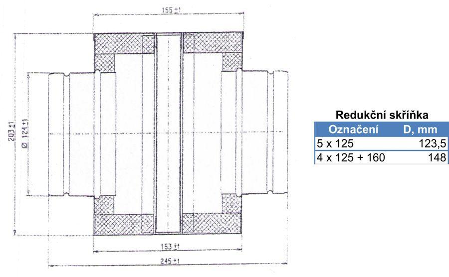 Rozbočovací skříňka 150/4x125 mm (krychle), pozink